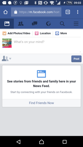 No news in Facebook news feed