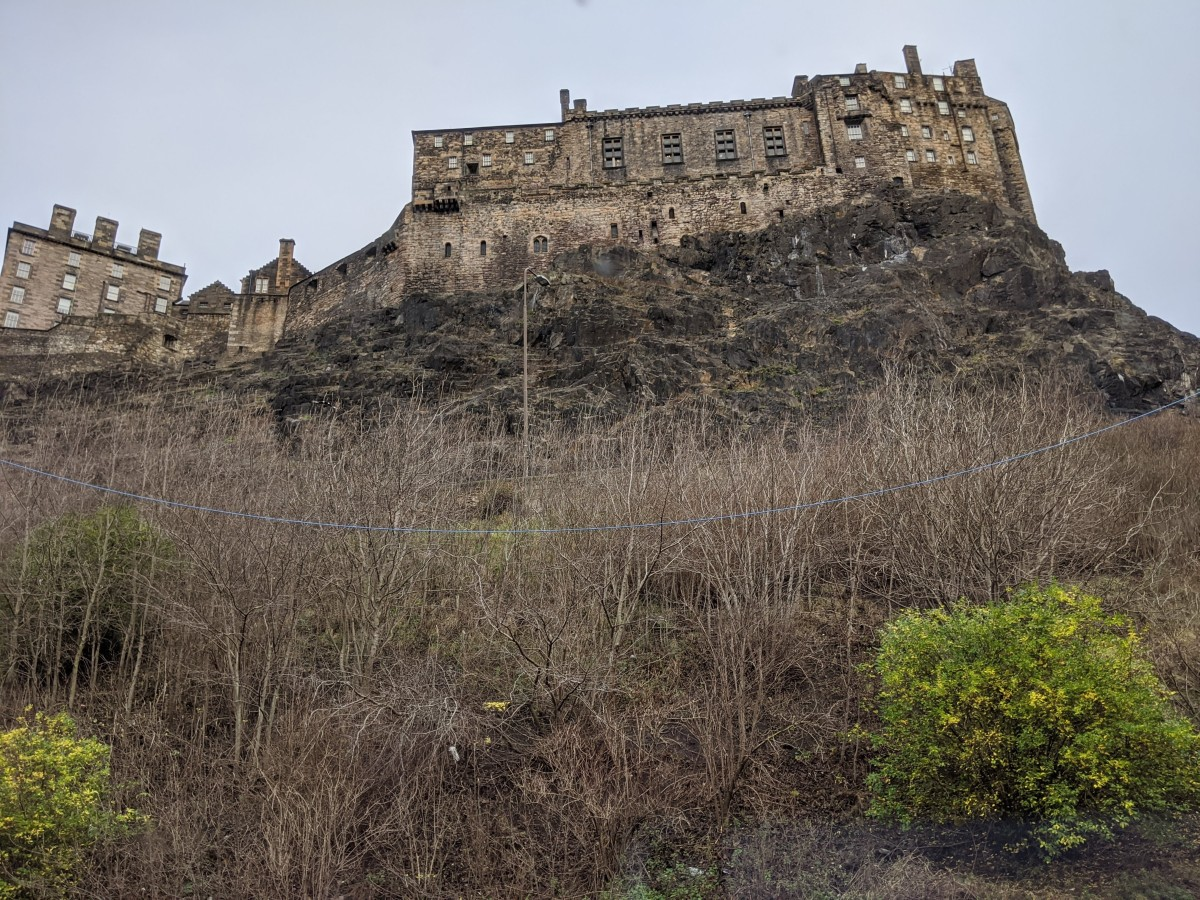 Looking up a steep hill to Edinburgh Castle